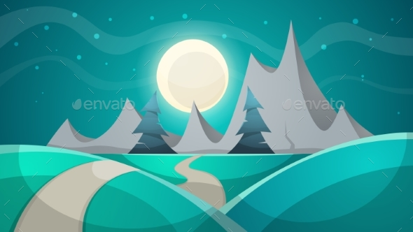 Cartoon Night Landscape. Fir, Mountain. - Landscapes Nature