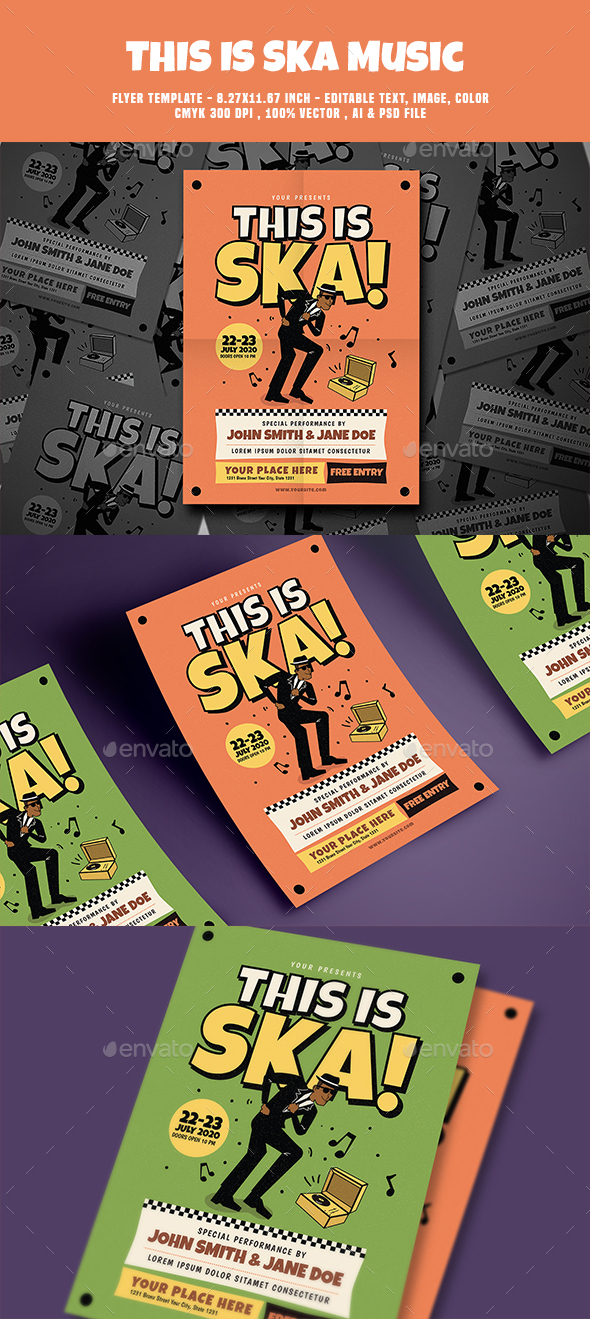 This is Ska Music Flyer - Flyers Print Templates