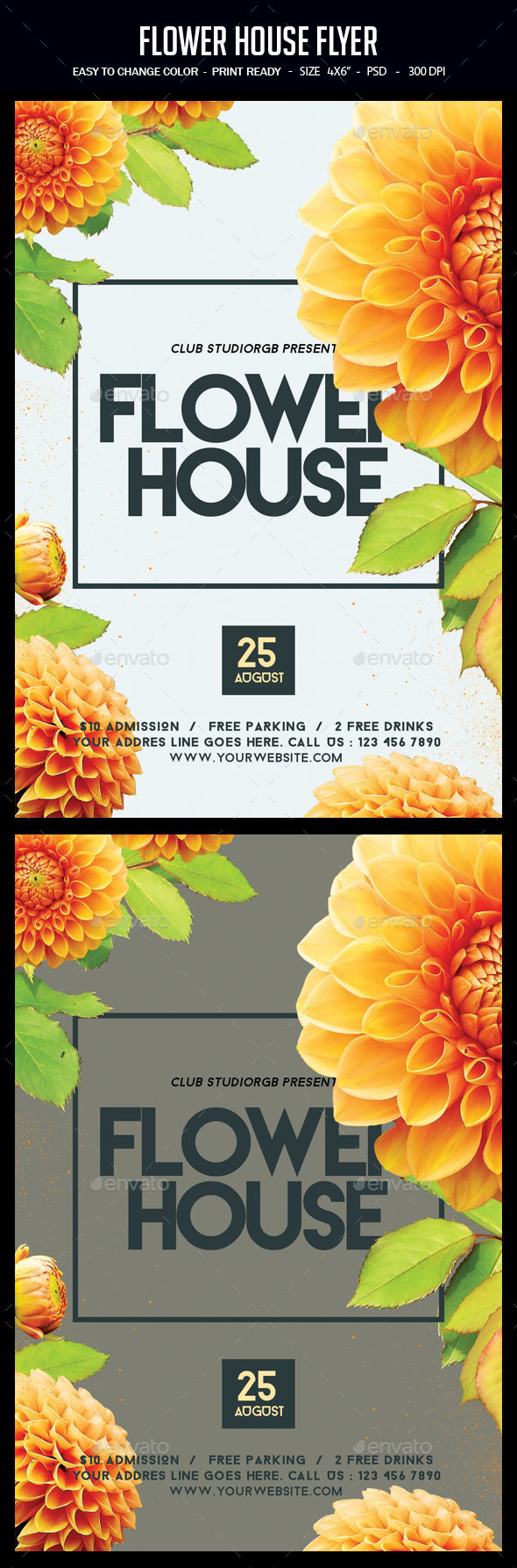 Flower House Flyer - Clubs & Parties Events