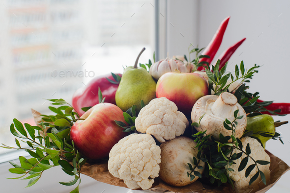 Bouquet of fruits, vegetables and mushrooms - Stock Photo - Images