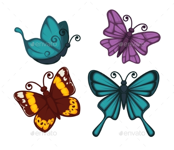 GraphicRiver Exotic Tropical Butterflies with Unusual Elegant 20468602