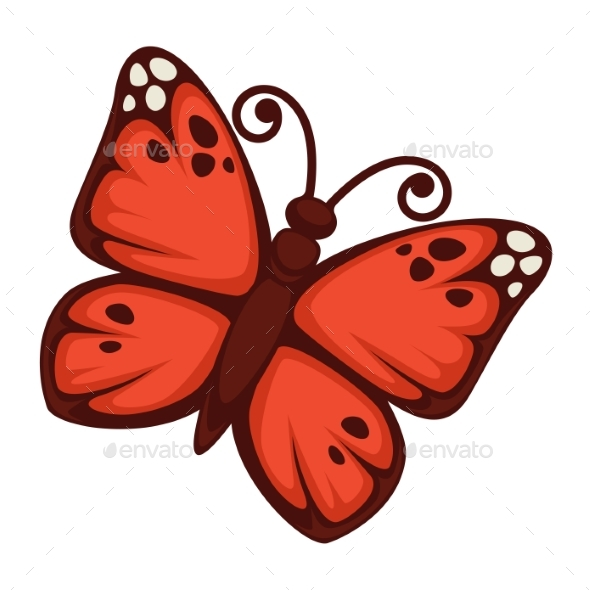 GraphicRiver Vivid Butterfly with Red Wings 20468604
