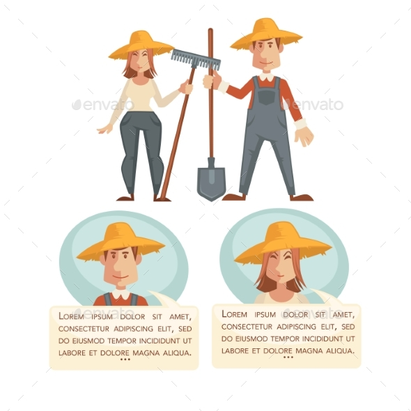 Man and Woman Farmers Talking - People Characters