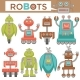 Robots and Transformers Retro Cartoon Toys Flat