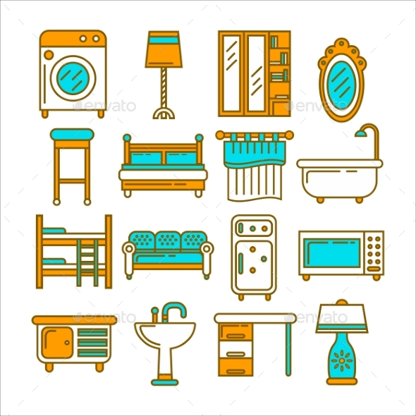 Furniture Set in One Style and of Bright Colors - Objects Vectors