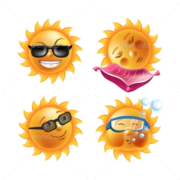 GraphicRiver Sun Smiles Cartoon Emoticons and Summer Emoji 20468762