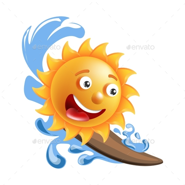 Sun Smile Cartoon Emoticon Summer Ocean Surfing - Miscellaneous Vectors