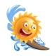 Sun Smile Cartoon Emoticon Summer Ocean Surfing