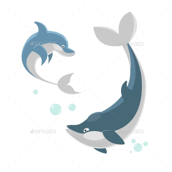 Ocaenic Whale and Sea Dolphin Isolated - Animals Characters