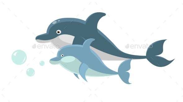 Big and Small Dolphins Swim Together Isolated - Animals Characters