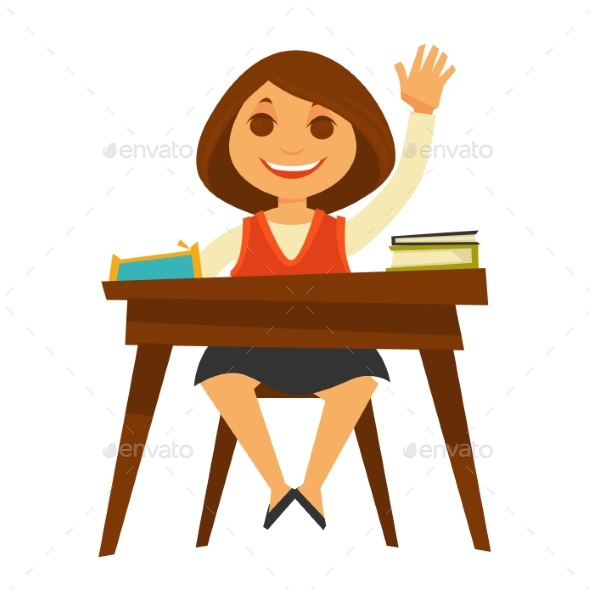 Girl Sits at Desk with Textbooks - Miscellaneous Vectors