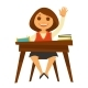 Girl Sits at Desk with Textbooks