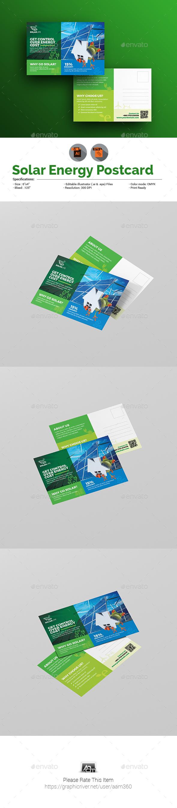 Solar Energy Postcard - Cards & Invites Print Templates