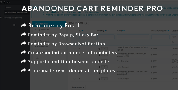 Prestashop Abandoned Cart Reminder PRO - Using Email, Popup, Browser Notification
