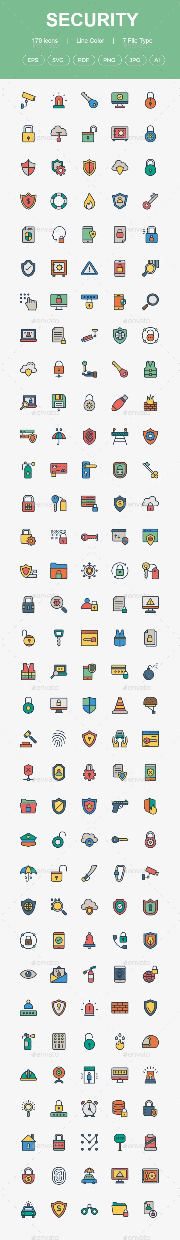 GraphicRiver 150& Security line color icons 20469208