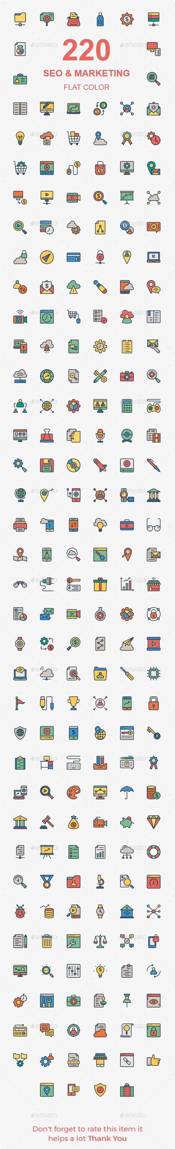 GraphicRiver SEO & Marketing line color icons 20469224