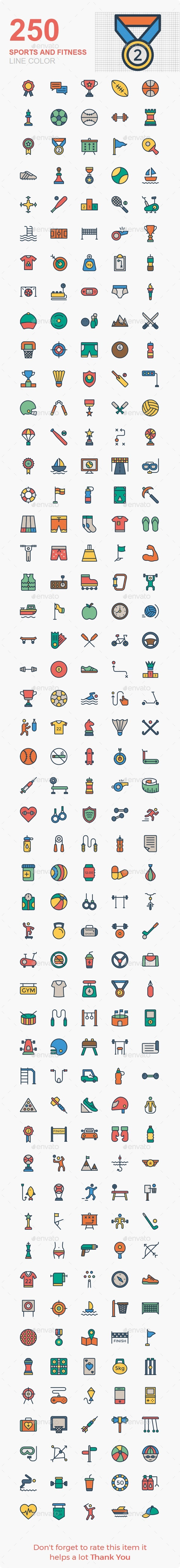 Sports and Fitness line color icons - Web Icons