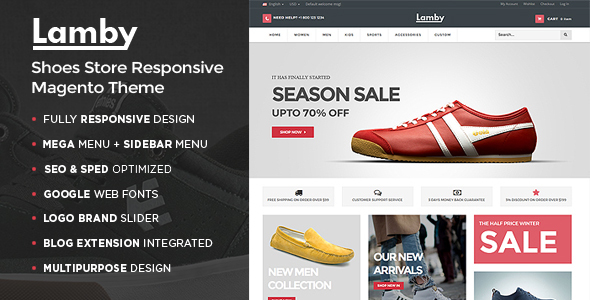 Lamby - Shoes Store Responsive Magento Theme - Shopping Magento