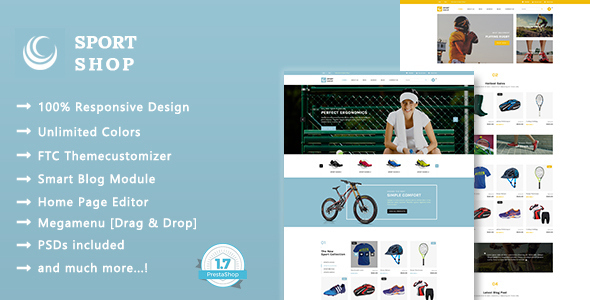 ThemeForest Sport Shop Clothing Shoes & Equipment Store Responsive Prestashop 1.7 Theme 20469524