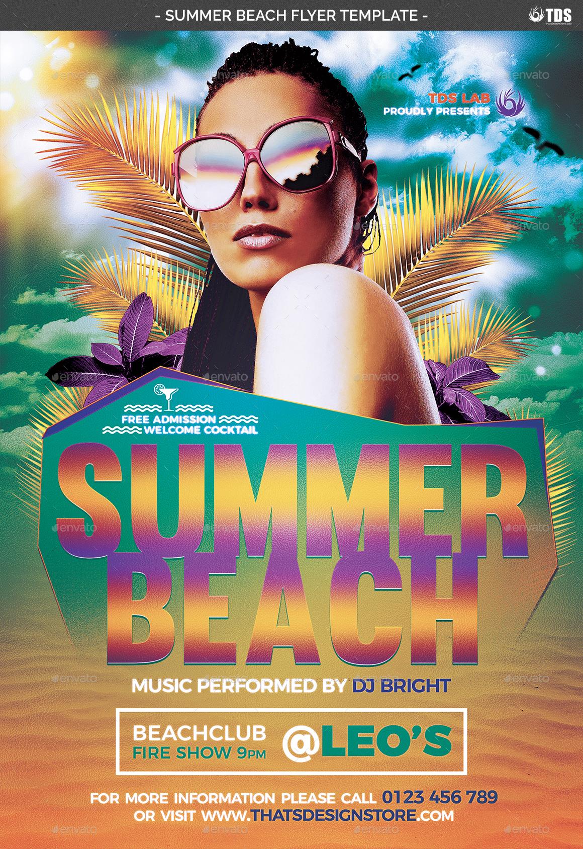 Summer Beach Flyer Template V1 by lou606 – Summer Flyer Template