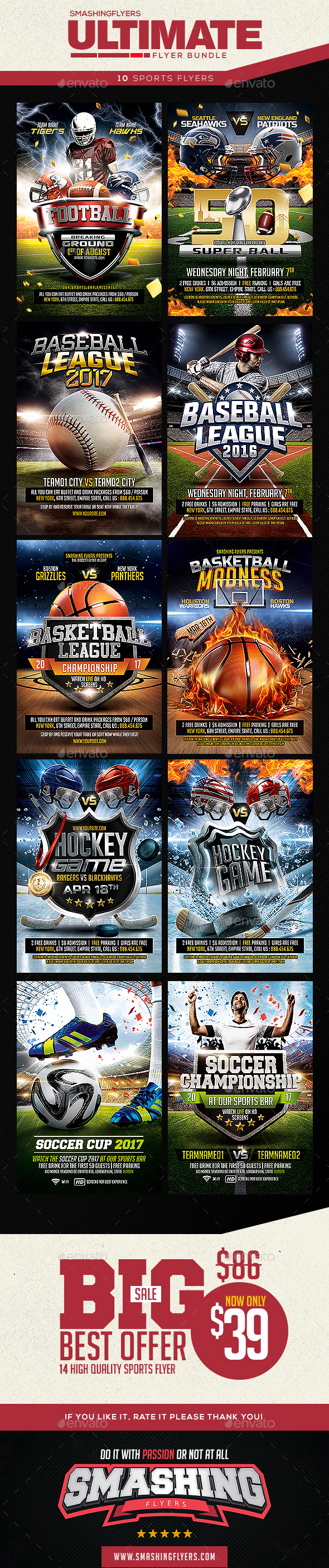 GraphicRiver Ultimate Sports Flyer Template Bundle 20450186