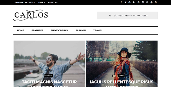 Carlos - Responsive WordPress Magazine and Blog Theme - News / Editorial Blog / Magazine