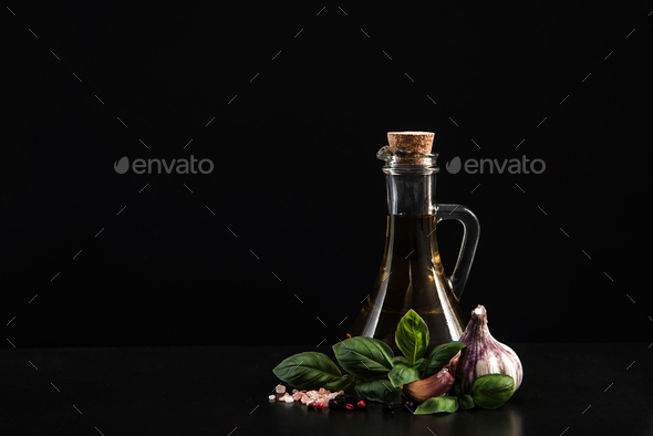 Virgin olive oil with herbs and spices