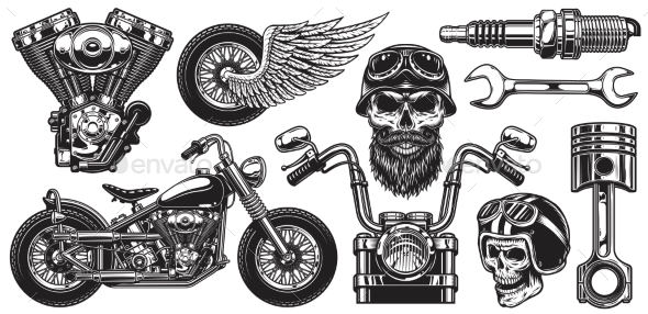 Set of Monochrome Motorcycle Elements - Man-made Objects Objects