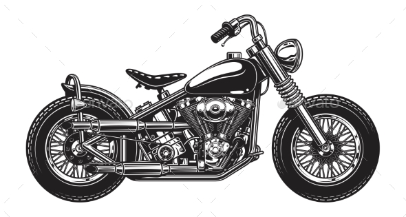 Monochrome Illustration of Classic Motorcycle - Man-made Objects Objects