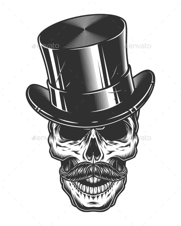 Monochrome Illustration of Skull with Top Hat - Miscellaneous Vectors
