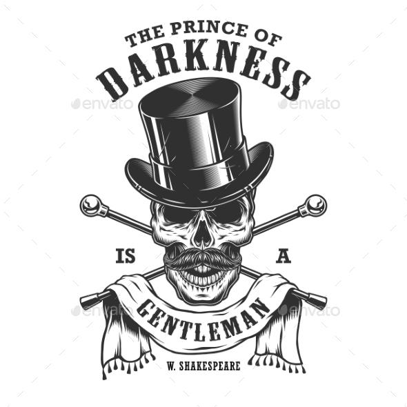 Gentlemen Emblem with Skull and Top Hat - Miscellaneous Vectors