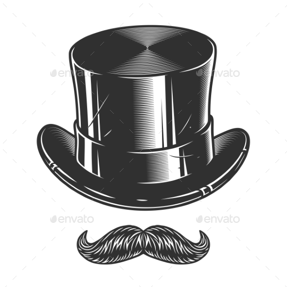 GraphicRiver Monochrome Illustration of Top Hat and Moustache 20470321