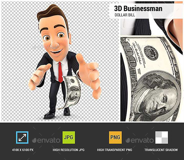 3D Businessman Bending Down to Pick up Dollar Bill - Characters 3D Renders
