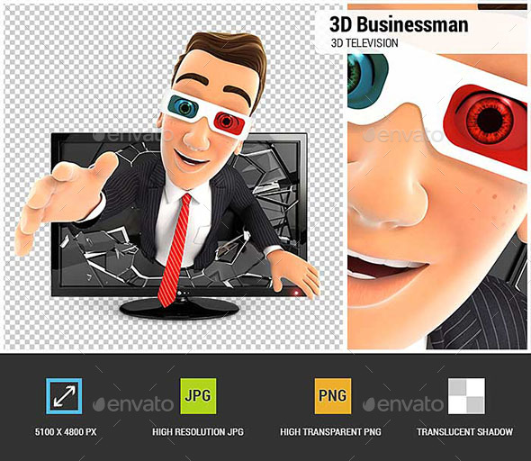 3D Businessman Coming Out of 3D Television - Characters 3D Renders