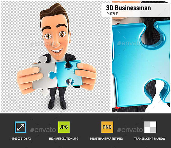 3D Businessman Connecting Two Pieces of Puzzle - Characters 3D Renders