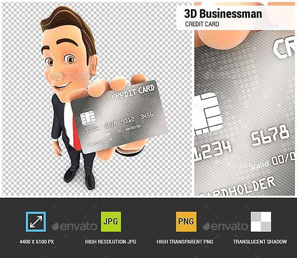 3D Businessman Credit Card - Characters 3D Renders