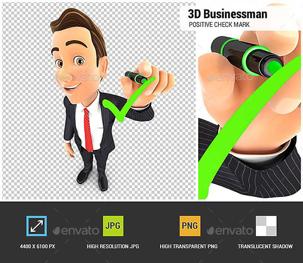 3D Businessman Drawing Positive Check Mark - Characters 3D Renders