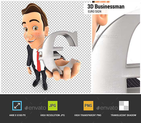 3D Businessman Euro Sign - Characters 3D Renders