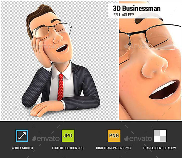 3D Businessman Fell Asleep Leaning on his Hand - Characters 3D Renders
