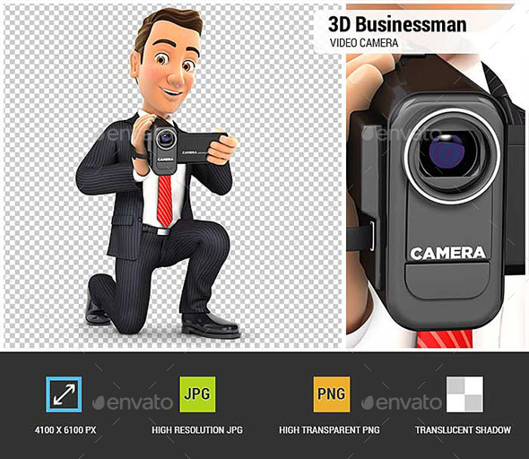 3D Businessman Filming with Video Camera - Characters 3D Renders