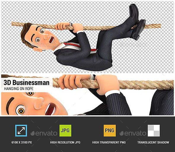 3D Businessman Hanging on Rope - Characters 3D Renders