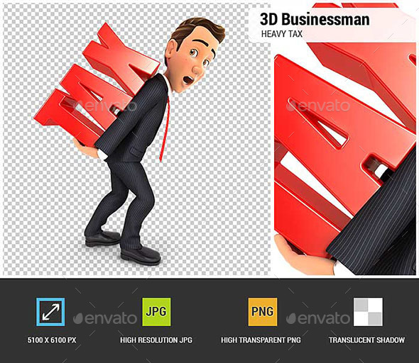 3D Businessman Heavy Tax - Characters 3D Renders