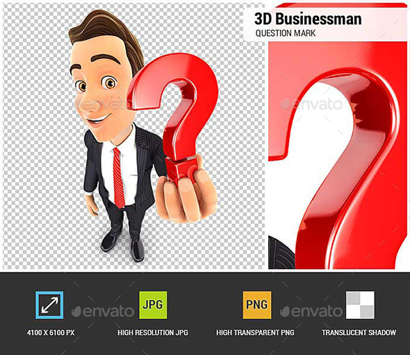 3D Businessman Holding a Question Mark Icon - Characters 3D Renders