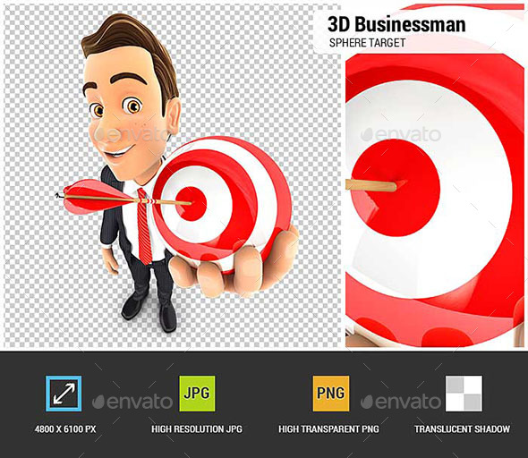 3D Businessman Holding a Sphere Target - Characters 3D Renders