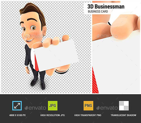 3D Businessman Holding Business Card - Characters 3D Renders