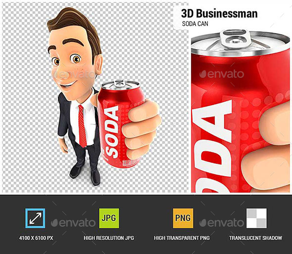 3D Businessman Holding Soda Can - Characters 3D Renders