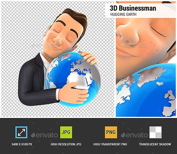 3D Businessman Hugging the Earth - Characters 3D Renders
