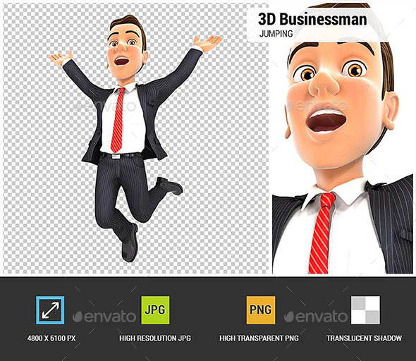 3D Businessman is Jumping - Characters 3D Renders
