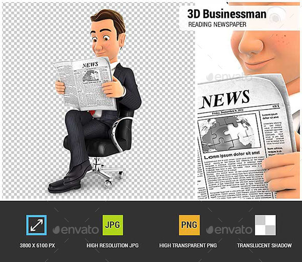3D Businessman is Reading a Newspaper - Characters 3D Renders