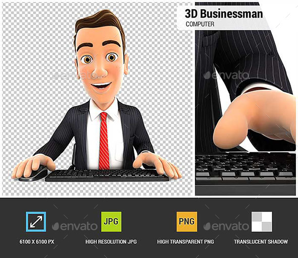 3D Businessman Looking at his Computer - Characters 3D Renders